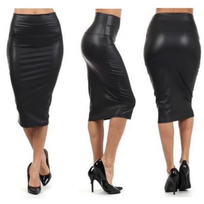Faux Leather High Rise Midi Pencil ..