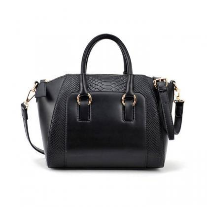 Embossed Faux Leather Handbag with ..