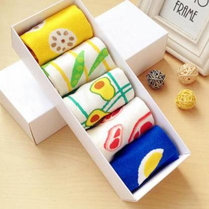 Women's 5 Pairs Gift Box Colorful F..