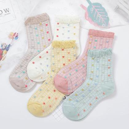 Women's Ruffled Casual Cotton Socks..