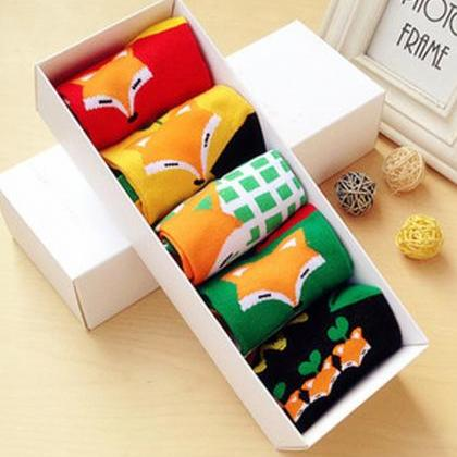 Women's 5 Pairs Gift Box Colorful L..