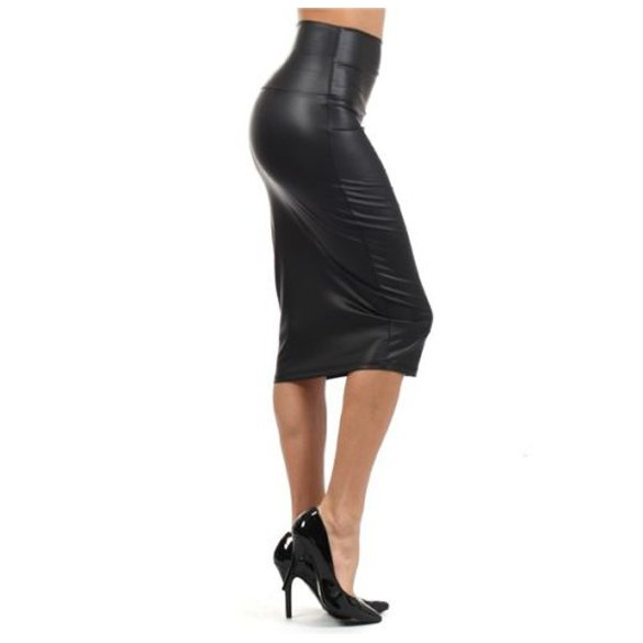 Faux Leather High Rise Midi Pencil Skirt