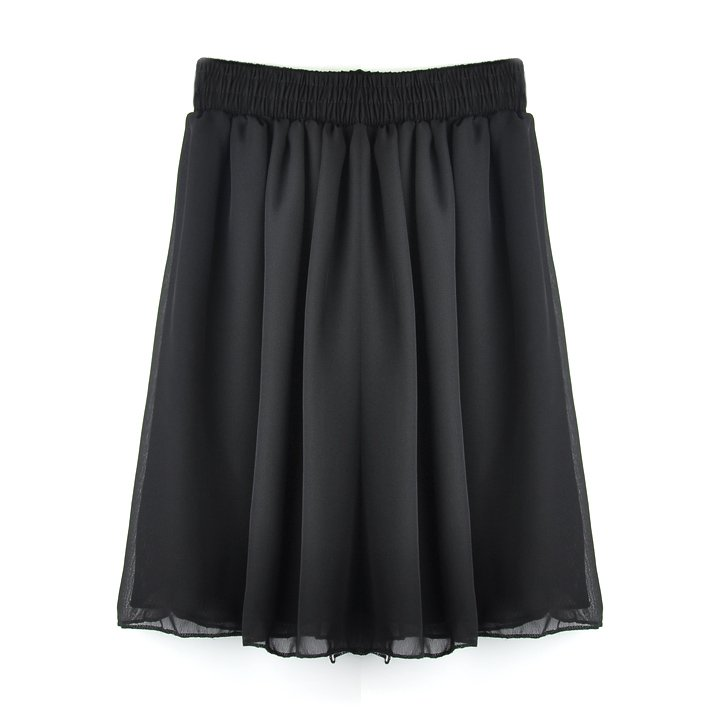 Retro Women's Chiffon Pleated Mini Short Skirt Elastic Waist Dress 7 Colors