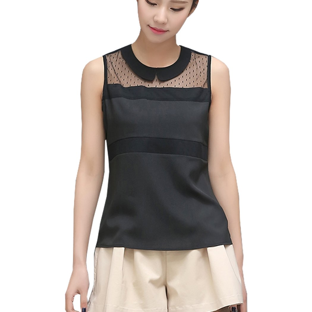 08066c66f2545d New Women's Doll Neck Chiffon Blouse Sleeveless Shirt Wear To Work Shirt 2  Colors