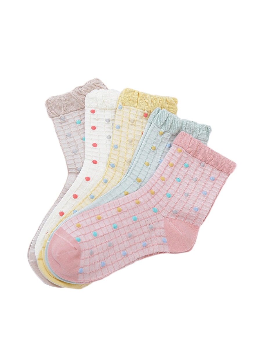 Women's Ruffled Casual Cotton Socks - 5 Pairs