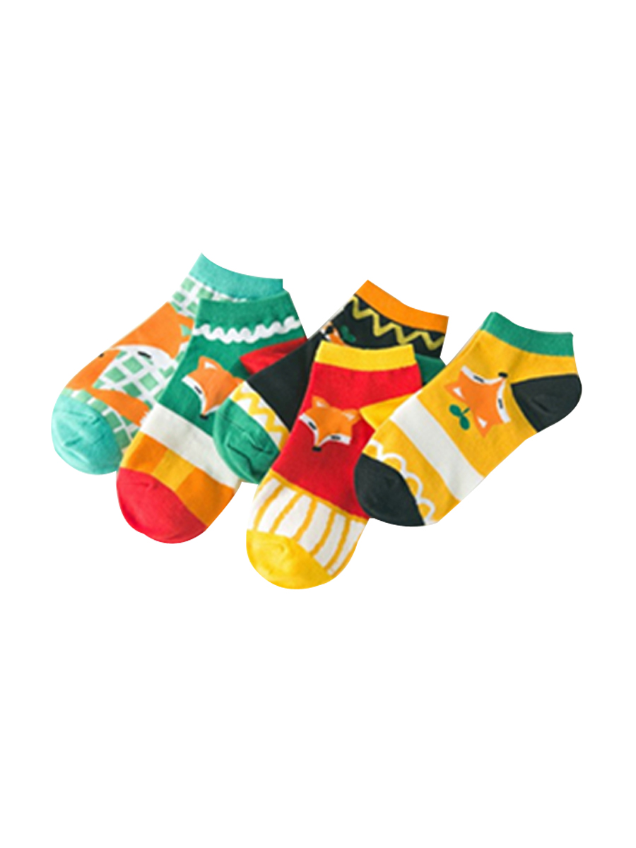 Women's 5 Pairs Gift Box Colorful Little Fox Print Causal Ankle Socks