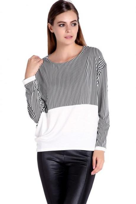 Women's Fashion Stylish Unique Splicing Stripe Pattern Batwing Long Sleeve Tops Blouse