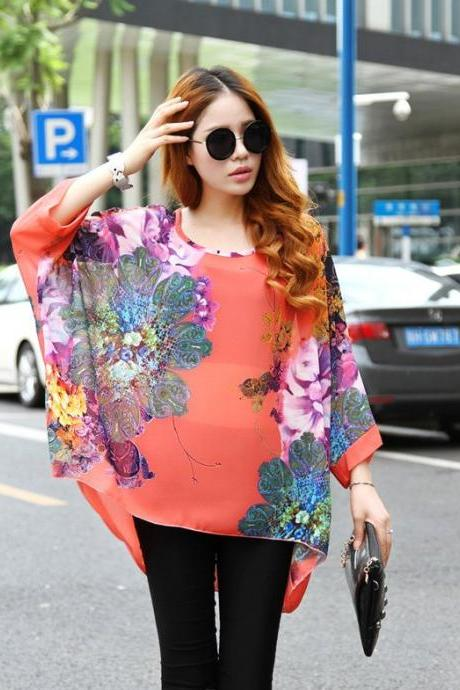 Stylish Lady Women's New Fashion Bohemia Print Batwing Sleeve O-neck Chiffon T-Shirt