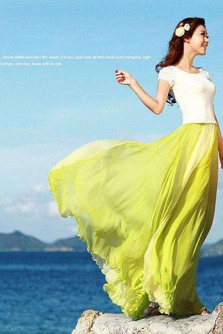 Vintage Style Women Soft Chiffon Contrast Elastic Waist Maxi Full Boho Skirt Dress