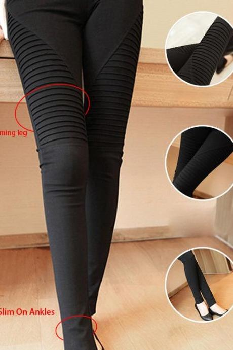 Women's Pocket Elastic Leggings casual Pleated Trousers Pencil Pants Trousers