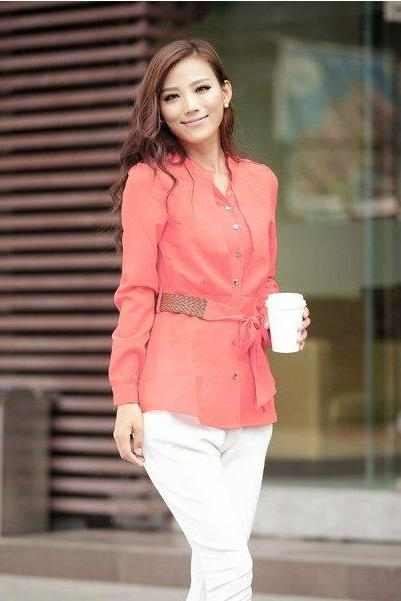 Stylish Lady Elegant Women's Candy Colors Long Sleeve V-neck Button Office Chiffon Tops Blouse Shirts