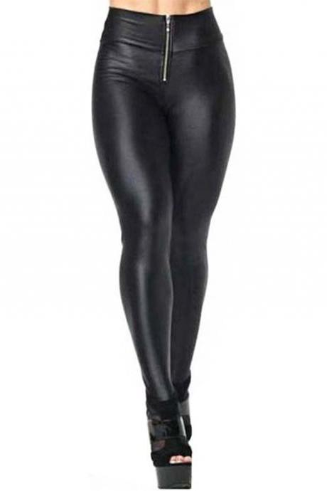 Women Zipper High Waist Stretch Skinny Shiny Leggings Pants Slim Fit Tights