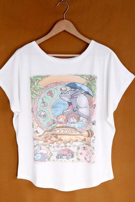 Summer Fashion Loose Women's Cotton T-shirt Animals Print Batwing Sleeve Tops T-shirt
