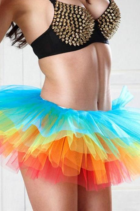 Women's Sexy Cosplay Costume Skirt Colorful Clubwear TuTu Party Mini Skirt