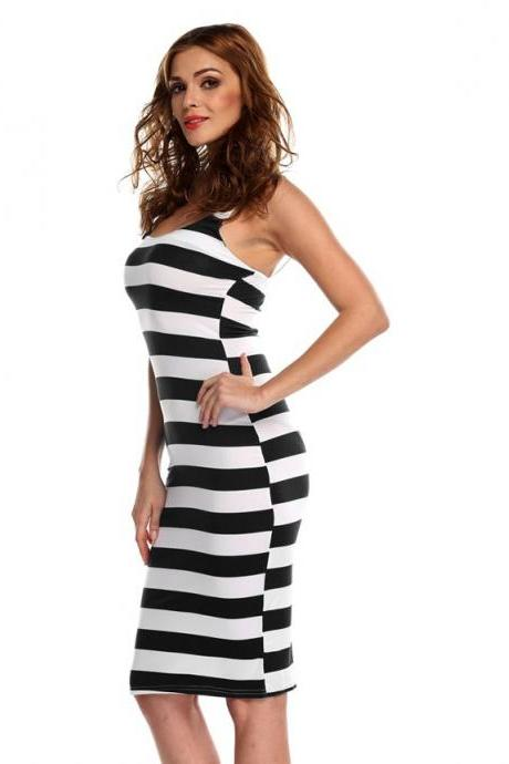 Stylish Lady Sexy Women's Strap Striped Backless Beach Casual Dress