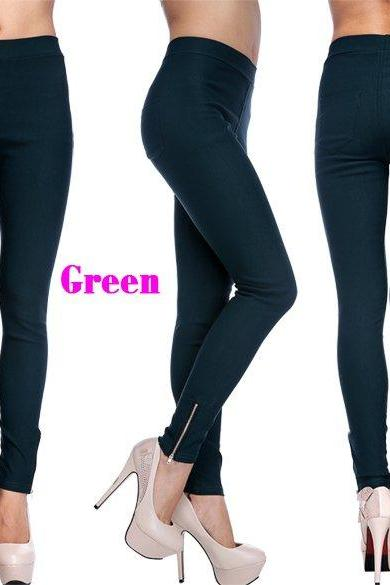 New Fashion Women Slim Casual Fit Candy Pencil Zipper Trousers Pants