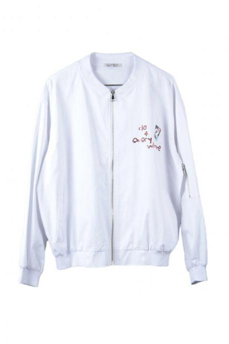 Women's Jacket Casual Cartoon Print Zipper Solid Bomber Jacket