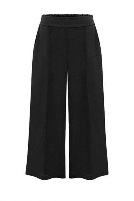 Black Elasticised High Rise Waist Wide-Leg Pants