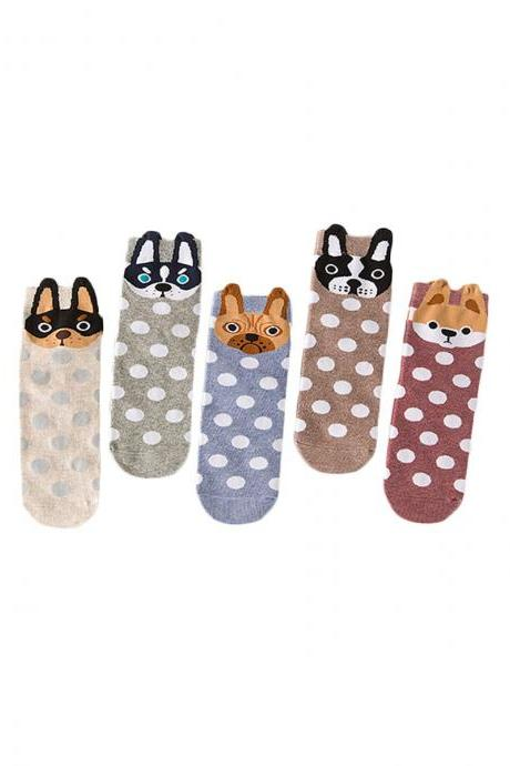 Women's 5 Pairs Dot Graphic Print Breathable Socks