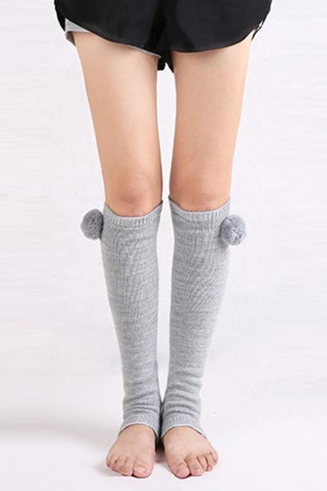 Women's Solid Open-Toed Thick Yoga Knee High Socks