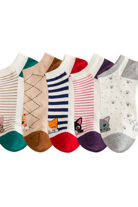 Women's 5 Pairs Sweet Cartoon Animal Striped Ankle Socks