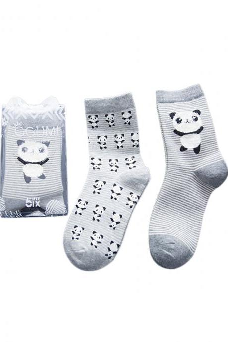 Women's 2 Pairs Cartoon Panda Stripes Anti-Odor Cotton Crew Socks