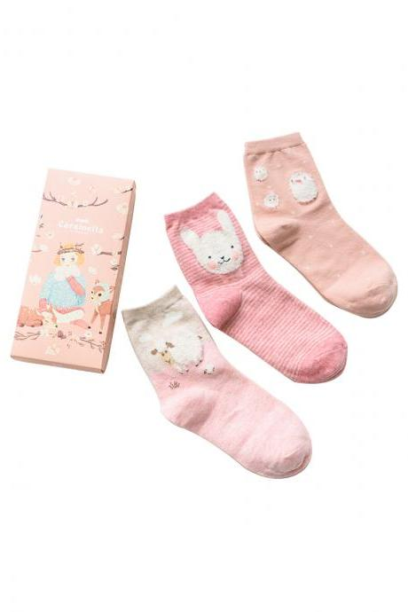 Women's 3 Pairs Gift Box Pink Big-Head Animal Print Socks