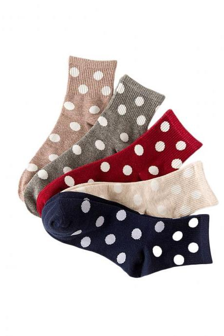 Women's 5 Pairs Candy Color Dot Print Breathable Causal Socks