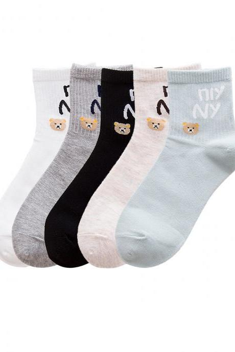 Women's 5 Pairs Sweet Bears Letter Print Causal Socks