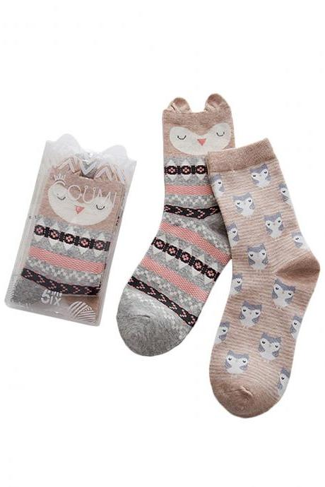 Women's 2 Pairs Cartoon Solid Ears Anti-Odor Cotton Crew Socks