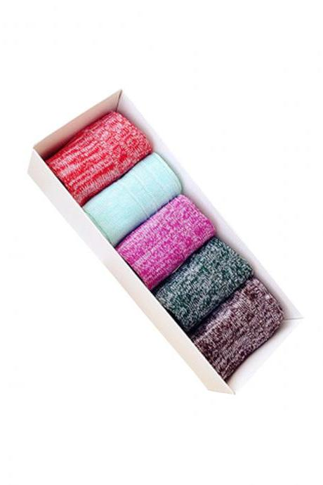 Women's 5 Pairs Gift Box Lisle Thread Causal Ankle Socks