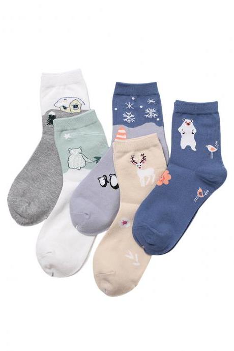 Women's 5 Pairs Cartoon Print Causal Breathable Cotton Socks