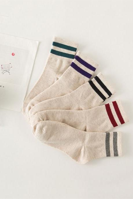Women's 5 Pairs Solid Stripe Breathable Anti-Odor Causal Socks