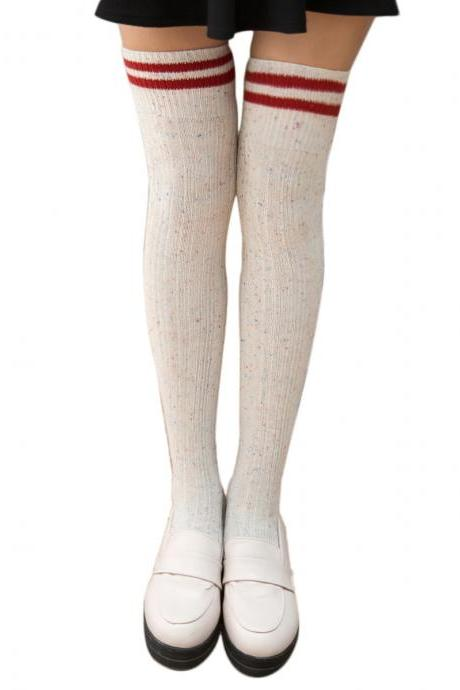 Women's Sweet Preppy Style Stripe Dot Knee High Socks