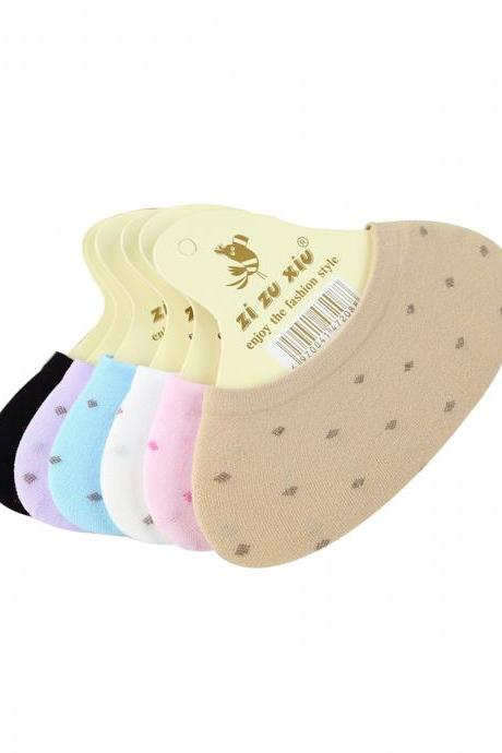 Women's 5 Pairs Cute Girl Candy Color Dot Ankle Socks