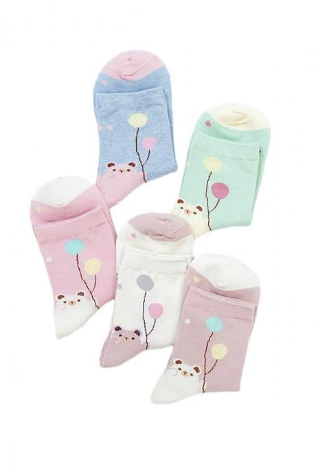 Women's 5 Pairs Sweet Balloon Little Bear Print Causal Cotton Socks