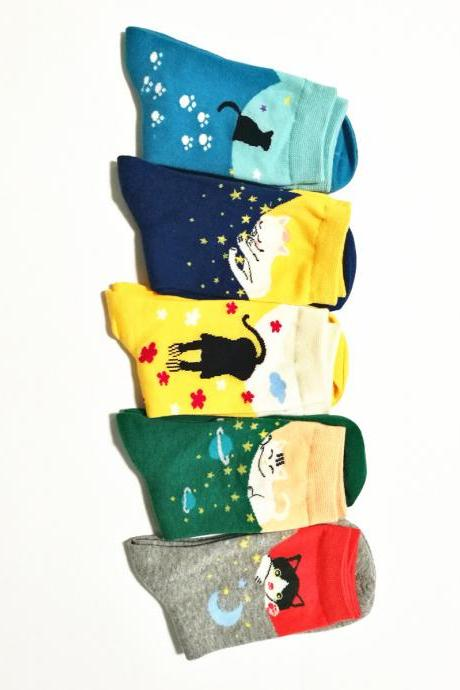 Women's 5 Pairs Cartoon Cats Print Cotton Crew Socks