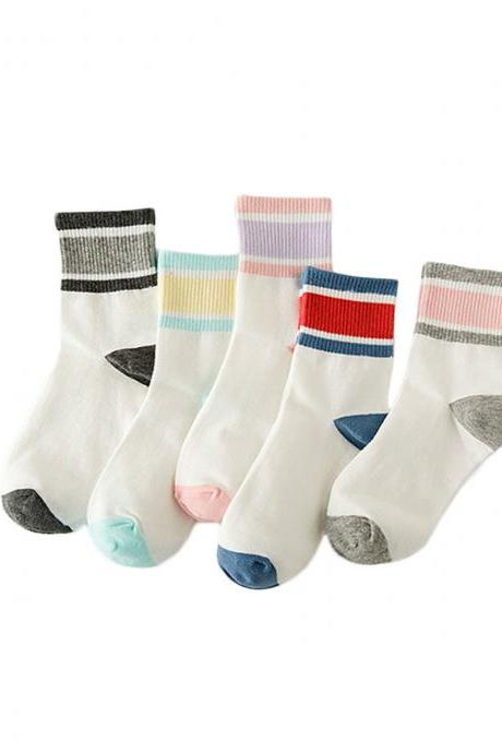 Women's 5 Pairs Color Patchwork Breathable Anti-Odor Socks