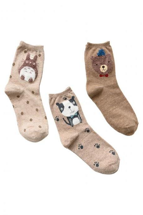 Women's 3 Pairs Gift Box Khaki Big-Head Animal Print Socks