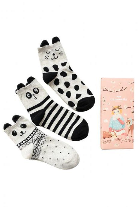 Women's 3 Pairs Gift Box Black-and-White Cartoon Ears Socks