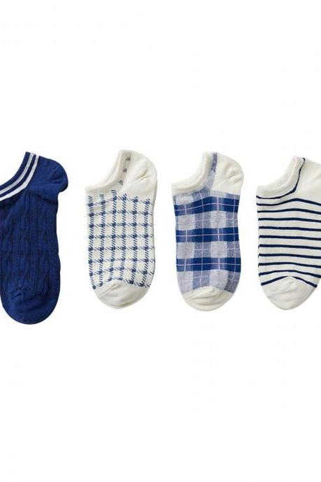 Women's 4 Pairs Brief Navy Gift Box Causal Cotton Ankle Socks
