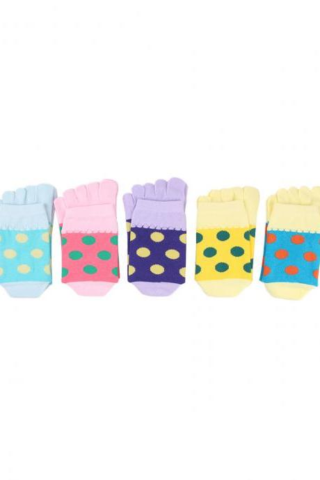 Women's 5 Pairs Polka Dot Cotton Five-Toe Socks
