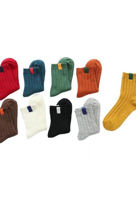 Women's 3 Pairs Solid Color Soft Warm Cotton Winter Crew Socks