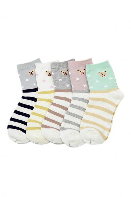 Women's 5 Pairs Stripes Cartoon Little Bear Print Causal Cotton Socks