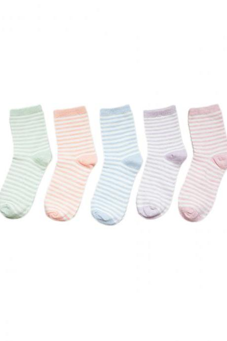 Women's 5 Pairs Candy Color Stripes Causal Cotton Socks