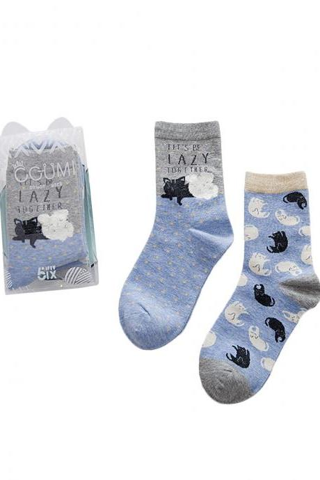 Women's 2 Pairs Cartoon Animal Dot Letter Anti-Odor Cotton Crew Socks