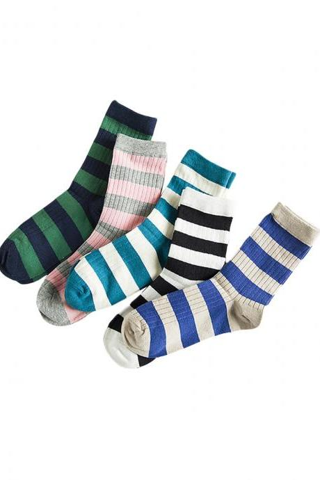 Women's 5 Pairs Preppy Style Candy Color Stripe Crew Socks