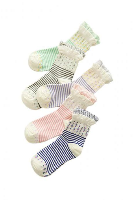 Women's 3 Pairs Sweet Girl Stripe Ruffles Socks