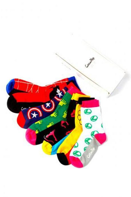 Women's 7 Pairs Colorful Crew Socks