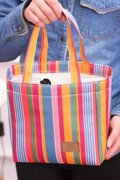 Thermal Insulation Bag Vertical Stripes Pattern Colorful Portable Lunch Bag